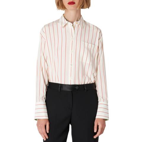 PAUL SMITH White/Red Stripe Silk Shirt