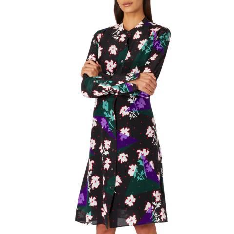 PAUL SMITH Black Flower Silk Shirt Dress