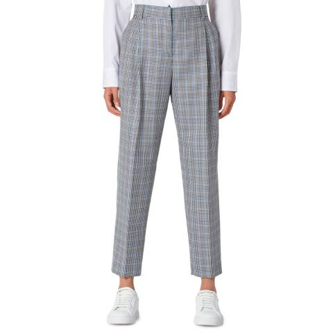 PAUL SMITH Blue Check Wool/Silk Blend Trousers