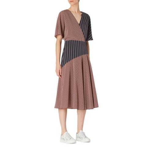 PAUL SMITH Brown Panel V-Neck Dress