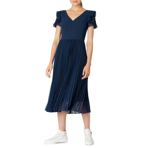 PAUL SMITH Navy Frilled V-Neck Dress