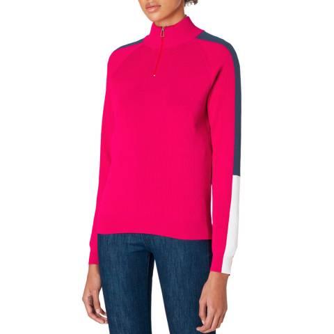 PAUL SMITH Pink Half Zip Knit Jumper