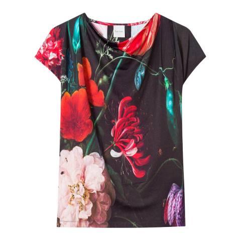 PAUL SMITH Black Flower Print Crew T-Shirt