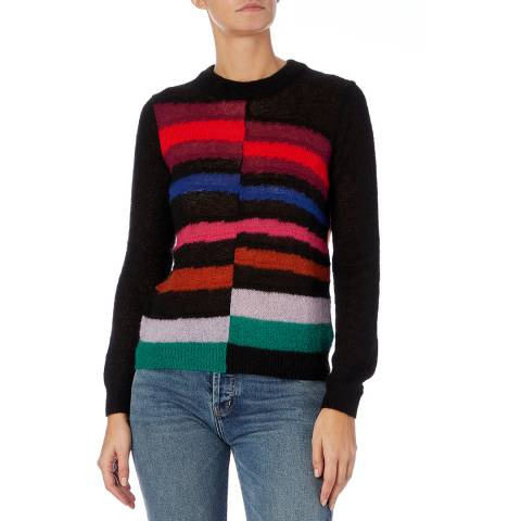 PAUL SMITH Black Stripe Mohair Blend Jumper