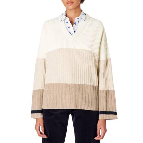 PAUL SMITH Beige Stripe Wool Blend Jumper