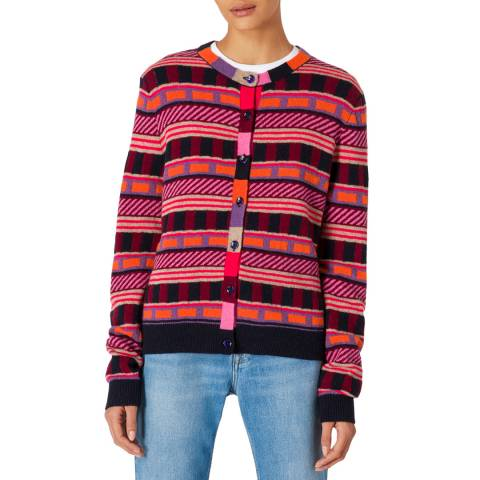 PAUL SMITH Pink Pattern Wool Blend Cardigan