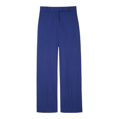 PAUL SMITH Blue Wide Leg Wool Trousers