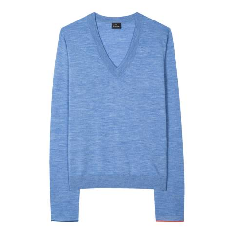 PAUL SMITH Blue V-Neck Wool Blend Jumper