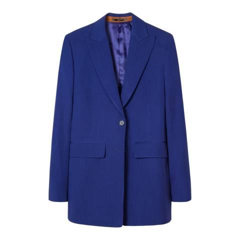 PAUL SMITH Blue Longline Wool Blazer