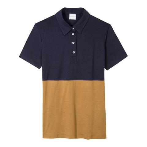 PAUL SMITH Navy Contrast Wool Polo Shirt