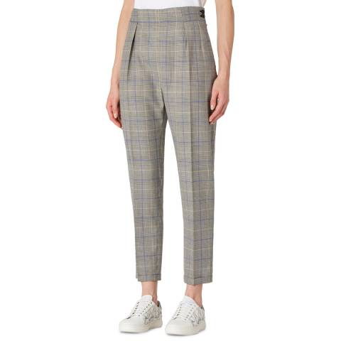 PAUL SMITH Beige Check Wool Trousers