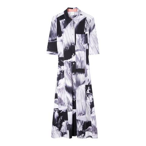 PAUL SMITH Black Monochrome Print Shirt Dress
