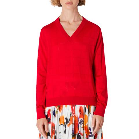 PAUL SMITH Red V-Neck Wool/Silk Blend Jumper