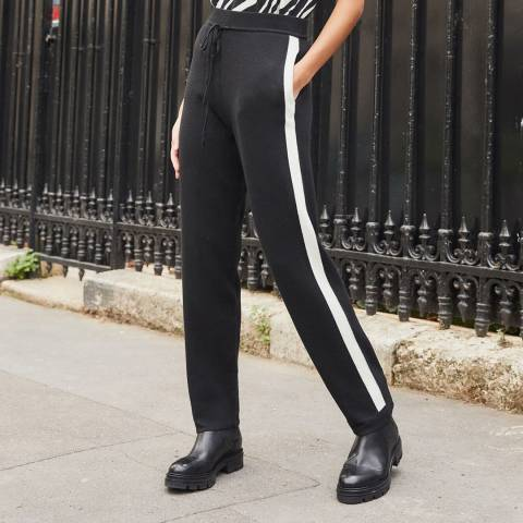 Rodier Black Wide Leg Knit Trousers