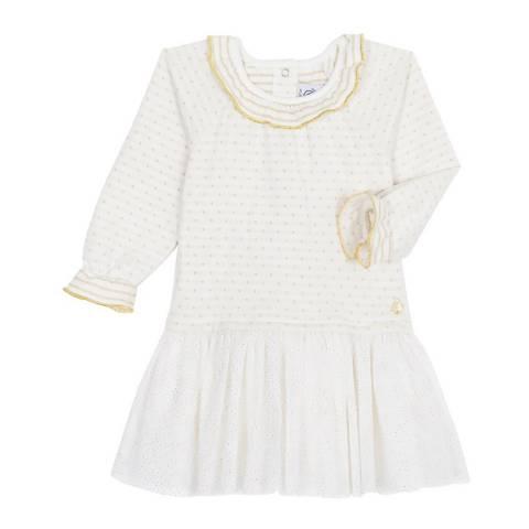 Petit Bateau Baby Girl's White Dual Material Dress