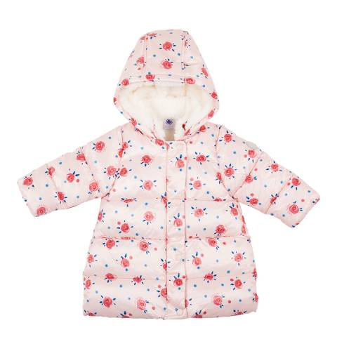Petit Bateau Baby Girl's Pink Floral Puffer Jacket
