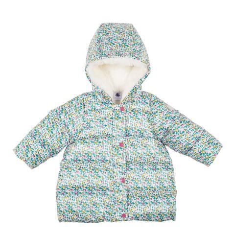 Petit Bateau Baby Girl's White Print Puffer Jacket