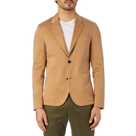 PAUL SMITH Camel Unlined Cotton Stretch Jacket