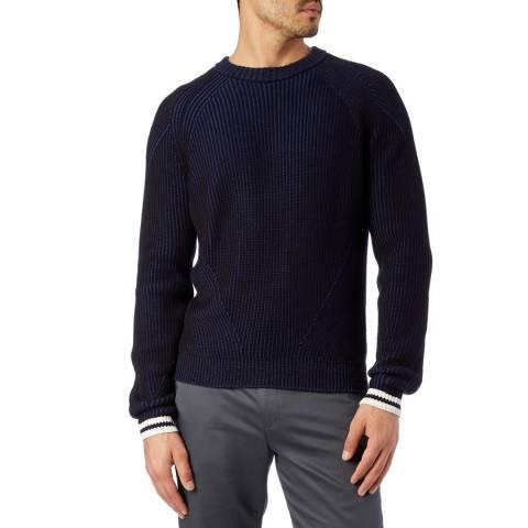 PAUL SMITH Navy Stripe Cuff Cotton Jumper