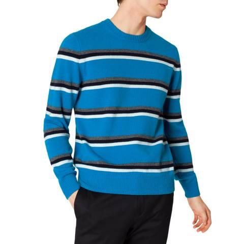 PAUL SMITH Blue Crew Neck Wool Jumper