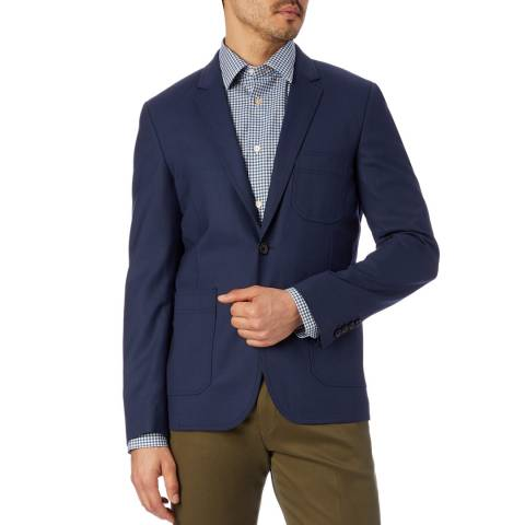 PAUL SMITH Navy Buggy Lined Wool Jacket