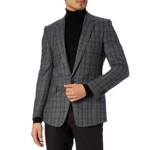 PAUL SMITH Navy Check 1 Button Wool Jacket