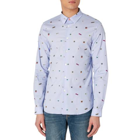 PAUL SMITH Blue Patterned Cotton Stretch Shirt