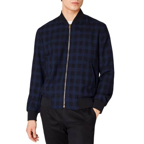 PAUL SMITH Navy Casual Check Wool Bomber Jacket