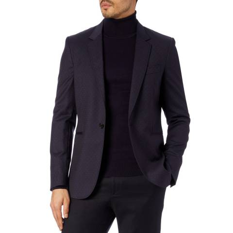 PAUL SMITH Navy Lined Wool Jacket