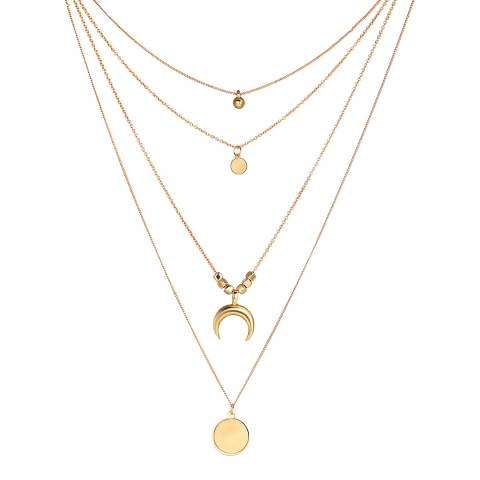 Liv Oliver 18K Gold Plated Multi Strand Layer Disc Necklace