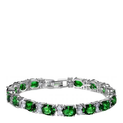 Liv Oliver Silver Plated Green And Zirconia Tennis Bracelet