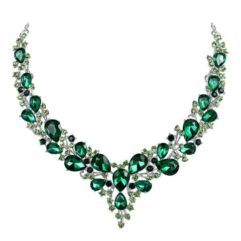 Liv Oliver Silver Plated, Green And Crystal Statement Necklace