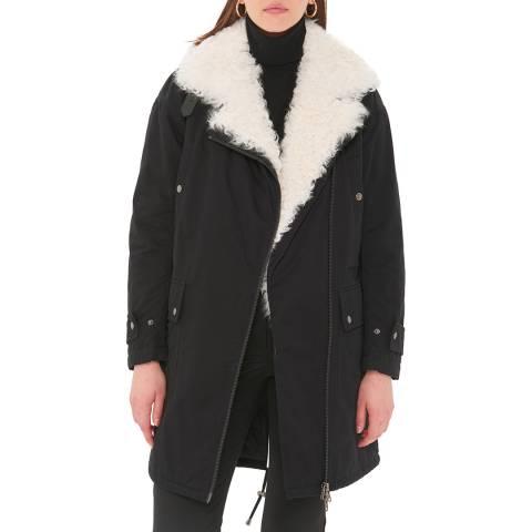 Gerard Darel Black Cotton Mallory Coat