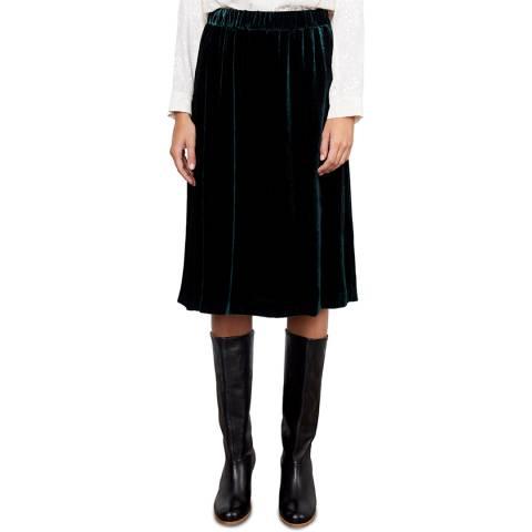 Gerard Darel Green Velvet Tally Skirt