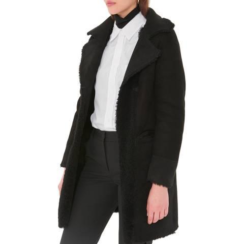 Gerard Darel Black Sheepskin Marcus Faux Fur Coat