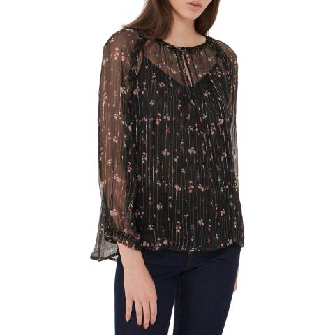 Gerard Darel Black Silk Sheer Laurene Blouse