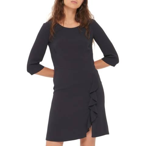 Gerard Darel Navy Ruffled Alyssa Dress