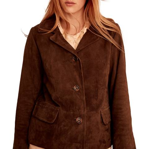 Gerard Darel Burgundy Suede Leather Jacket