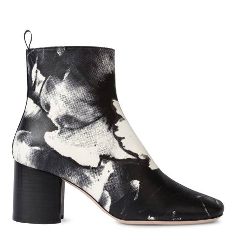 PAUL SMITH Black Rose Print Moss Leather Boot
