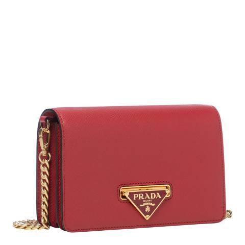 Prada Red Leather Shoulder Bag