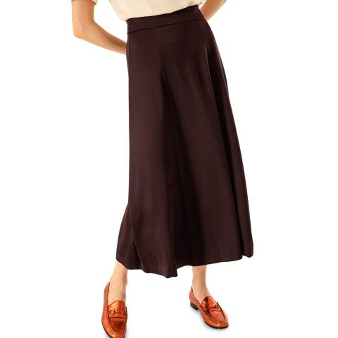 Ivy & Oak Maroon Pleated Midi Skirt