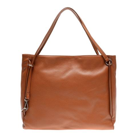 Luisa Vannini Cognac Leather Shoulder Bag