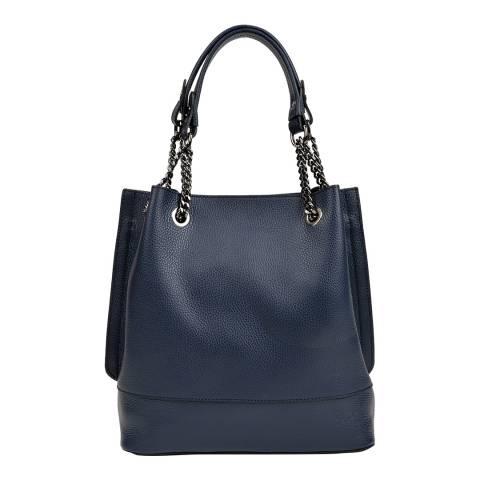 Isabella Rhea Navy Leather Shoulder Bag