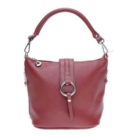 Isabella Rhea Red Leather Top Handle Bag