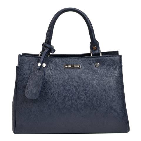 Anna Luchini Navy Leather Top Handle Bag