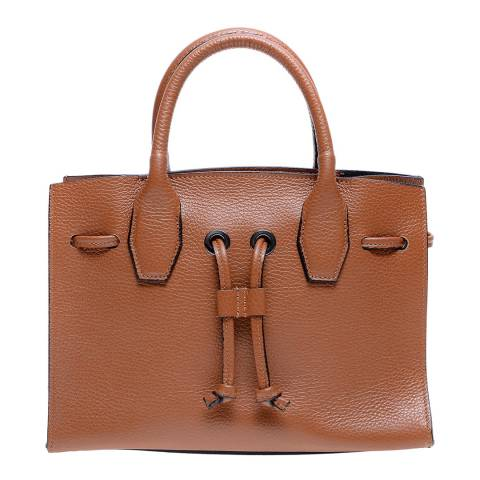 Roberta M Cognac Leather Top Handle Bag