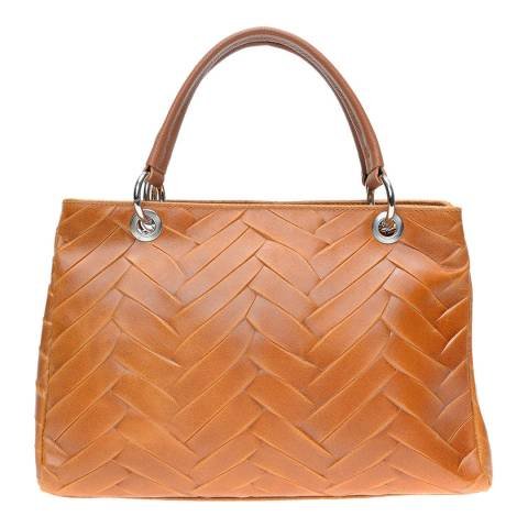 Isabella Rhea Cognac Leather Top Handle Bag