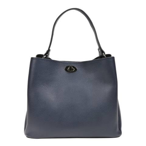 Luisa Vannini Navy Leather Top Handle Bag