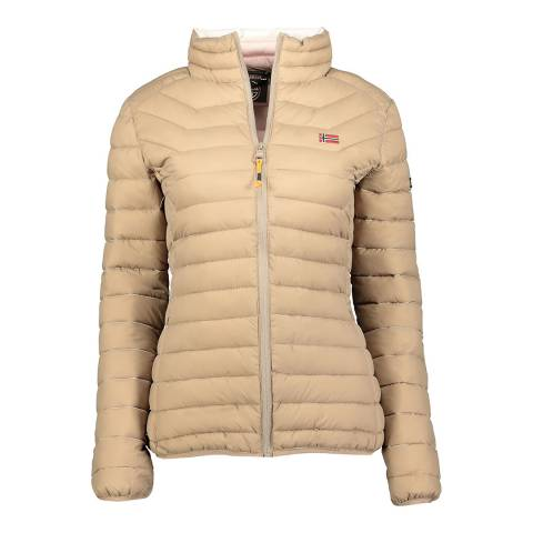 Geographical Norway Taupe Quilted Parka Without Hood