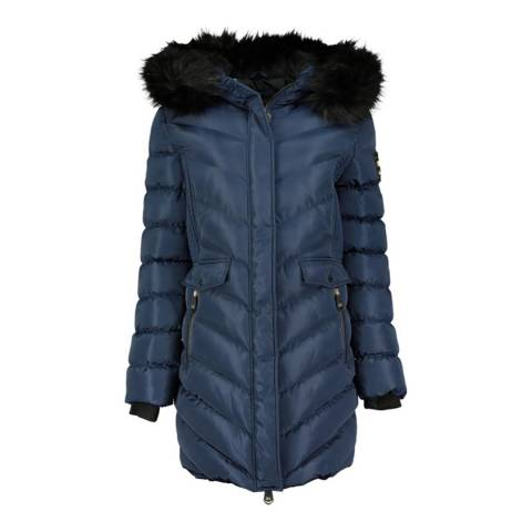 Geographical Norway Navy Fur Hooded Parka